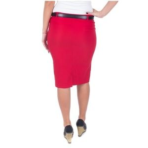 Forever Young Skirts - Pencil Skirt with Belt, D-3018, Red